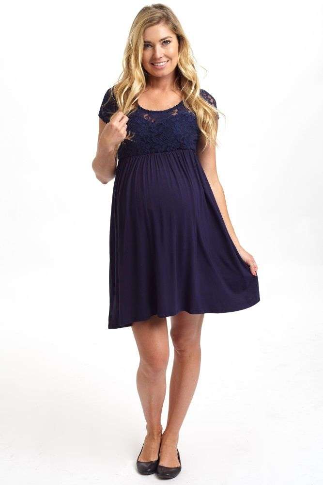 Perfect for your date night, this solid maternity dress features a delicate lace top to give your look an instant feminine flair. Navy-Blue-Lace-Top-Maternity-Dress