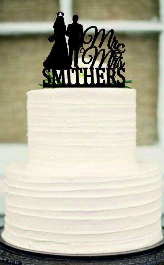 Enfermera la torta de boda, boda personalizada personalizado cake topper, Señor y señora torta de bodas, novia y el novio Pastel de cumpleaños
