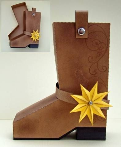 Cowboy boot shaped gift box/treat holder w/template