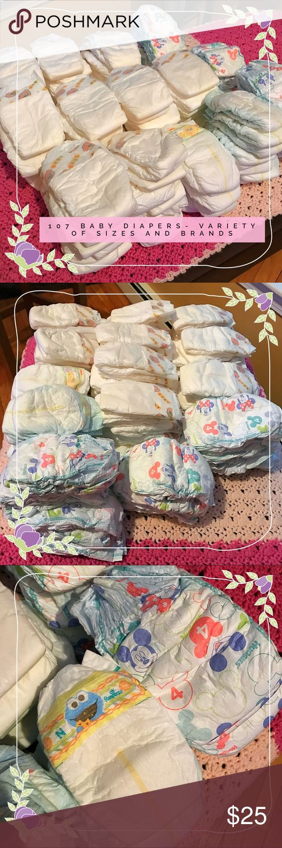 107 Baby Diapers Variety of Sizes and Brands Earth's Best (organic) , Pampers and Huggies Diapers. New Born through size 5 . Earths Best unfortunately does not have sizes on their individual diapers . I can only make an educated mothers guess that the largest size is a 5- 107 total- ****priced to sell Variety of Brands Other