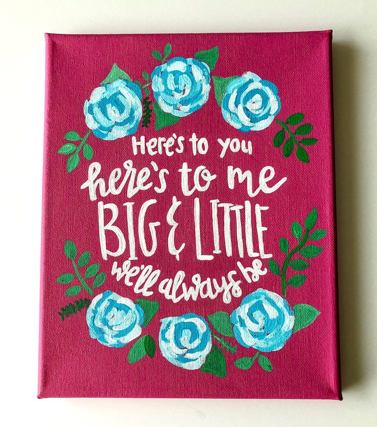 Excited to share the latest addition to my #etsy shop: Sorority Big Little Canvas// hand painted, hand lettered, dorm canvas, apartment canvas, big little reveal, sorority gift