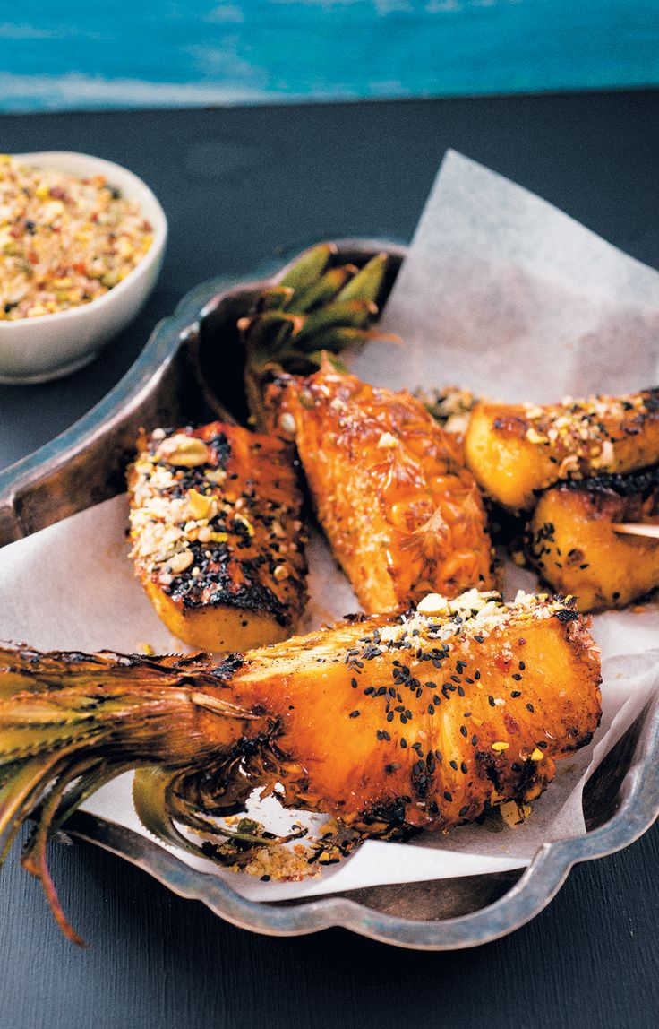 Chargrilled dukkah-coated pineapple wedges
