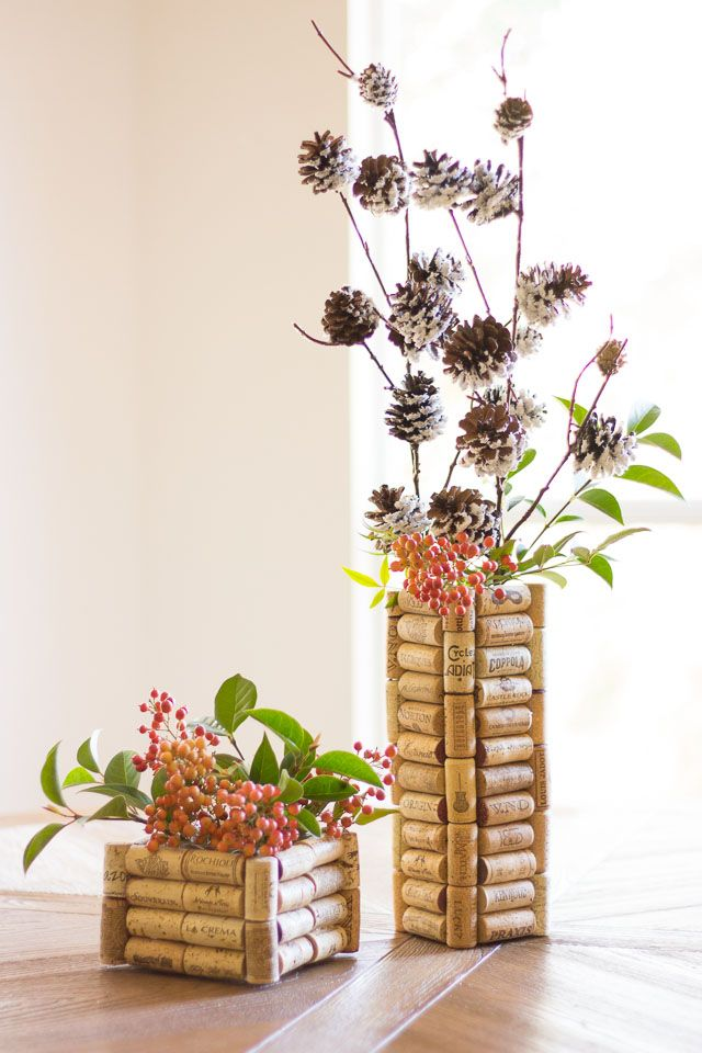 Thrifty DIY Upcycled Wine cork vases - the perfect use for all those corks you've been saving! These make great gifts too!