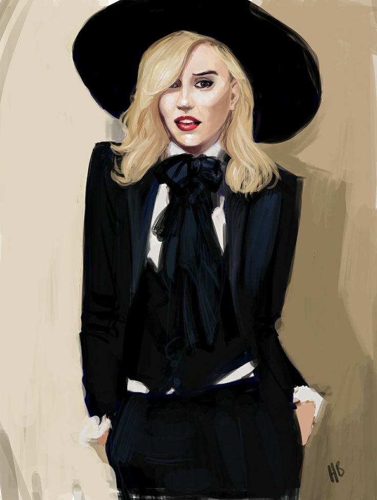Gwen Stefani in tuxedo - portrait painted in Painter X3 - by Hilbrand Bos