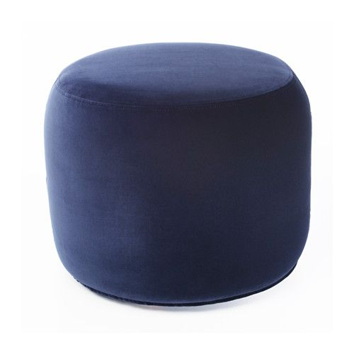 IKEA - STOCKHOLM 2017, Ottoman, Sandbacka dark blue, , You can use the ottoman in many ways – as a footrest, extra seating, or as a table if you place a tray on top.Velvet is a soft, luxurious fabric that is resistant to abrasion and easy to clean using the soft brush attachment on your vacuum.Easy to move thanks to its small size.