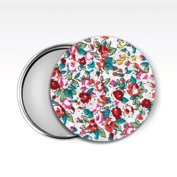 Zrcátko látkové, www.udelejsiplacku.cz/eshop udělej si placku #placky #zrcátko #udelejsiplacku #badge #pin #floral #mirror #fabric #látkové