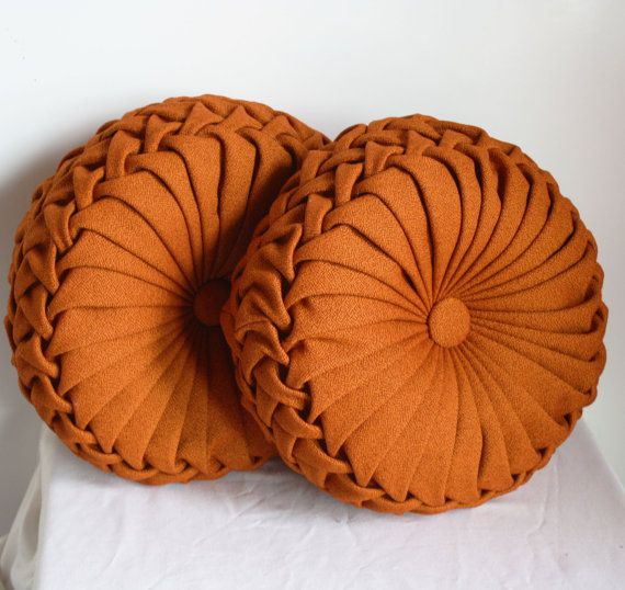 Handmade 1960s Round Smocked Decorative Pillows   Grandma Had Purple Ones.