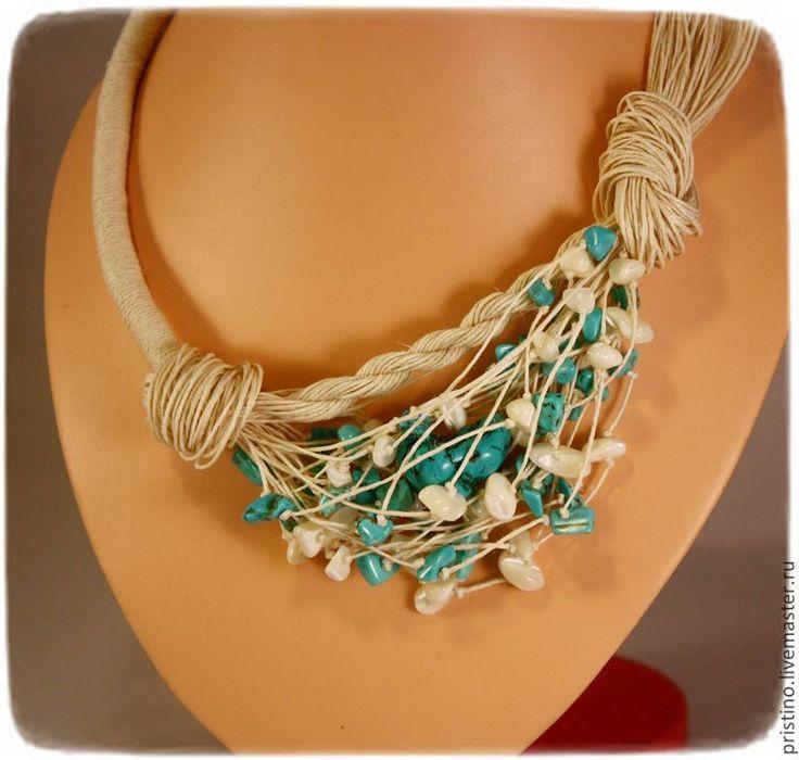 """Купить Льняное колье """"Средиземноморье"""" - 100% лен, украшение из льна, льняные украшения, натуральные камни"""