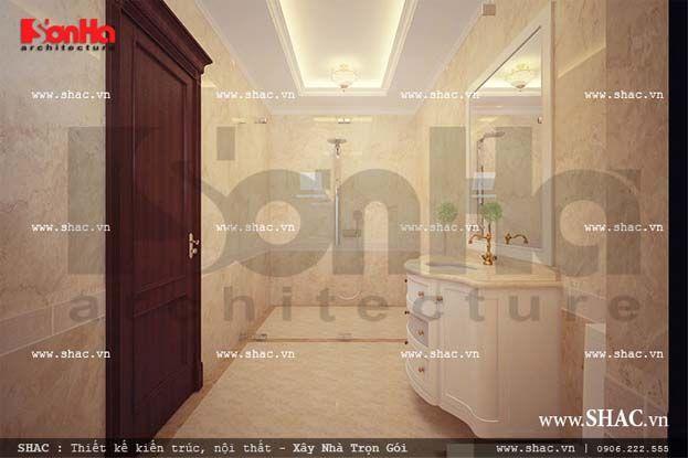 Nội thất phòng tăm cổ điển Pháp sang trọng, sạch sẽ, sử dụng đồ nội thất cao cấp