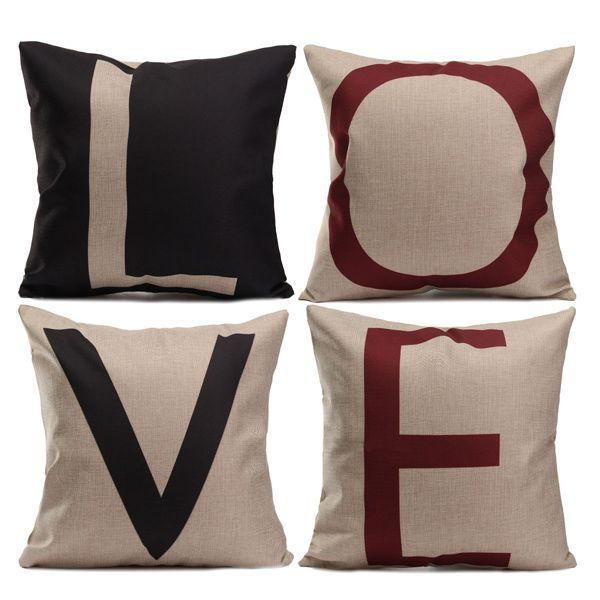 Carta de amor de algodón de lino caso cojín sofá fundas de colchón decoración
