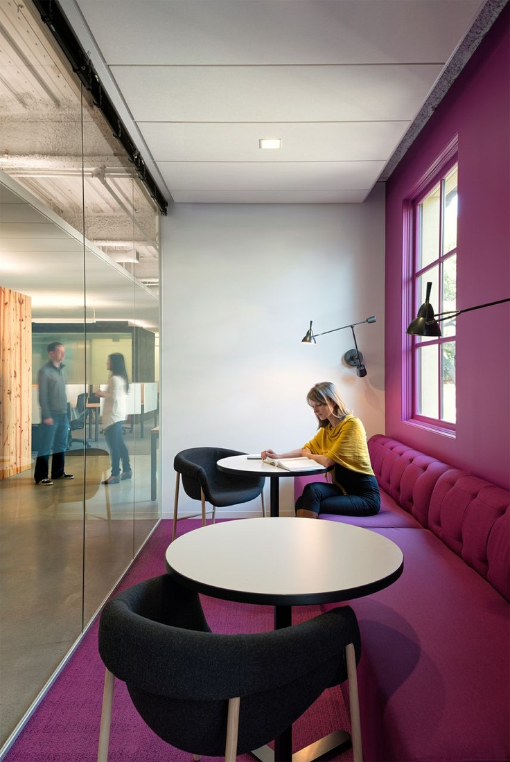 Communal Quiet Room/// Don't like Pink, but good idea for the narrow area next to the kitchen.