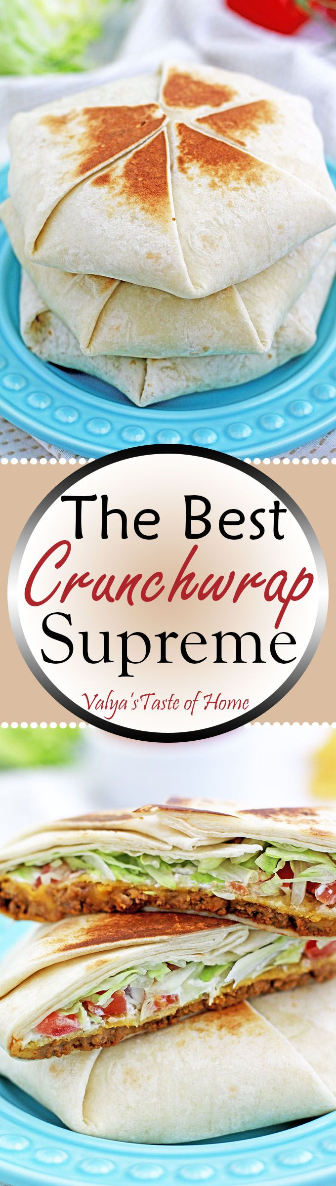 My family loves this Crunchwrap very much so I wanted to create this well-loved meal at home in a cleaner and healthier way. Tastes just like Taco Bell's, but prepared in a way that you know you can trust, makes it much more delicious and enjoyable.