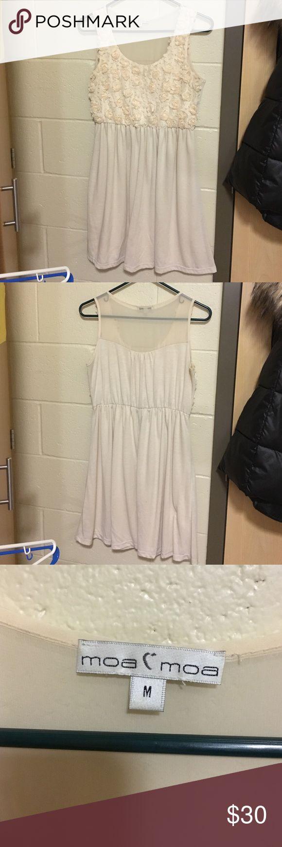 Flowered top cream colored dress Size medium. Cute flower accent top. Cream colored dress Nordstrom Dresses