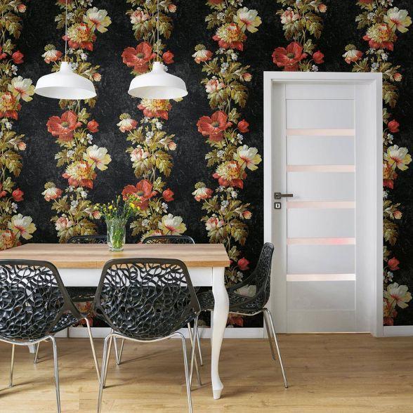 Roommates Vintage Floral Strip Peel And Stick Wallpaper Black Peel And Stick Wallpaper Floral Stripe Room Visualizer