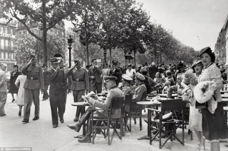 Mrs de Florian fled Paris before the outbreak of war in 1939, which saw the Nazis invade France and reach Paris on June 14. Pictured here, German officers and Parisians mingle near a sidewalk cafe on the Champs Elysees on Bastille Day in 1940History, Paris Sous, Wwii, Champs Elysees, Paris Cafe, German Offices, Bastille Day, 1940, Cafes K-Cup