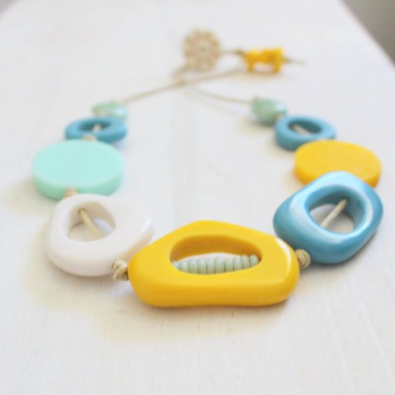 Beach Ramble Resin Necklace, Chunky Necklace Large Necklace Statement Necklace Yellow Necklace Blue Necklace Modern Design Blue and Yellow on Etsy, £28.89