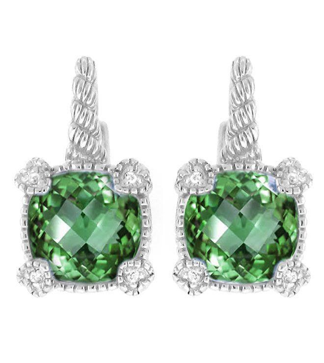 La Petite Cushion Cut Green Quartz Earrings