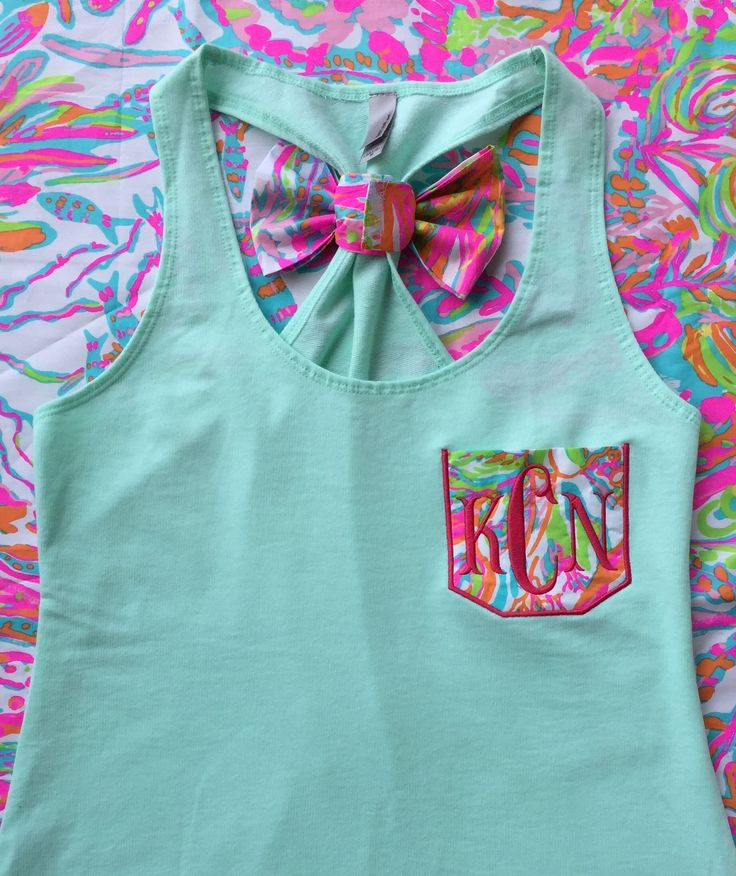 Monogrammed Lilly Pulitzer Pocket Bow Racerback Tank http://www.tinytulip.com/monogrammed-lilly-pulitzer-pocket-bow-racerback-tank