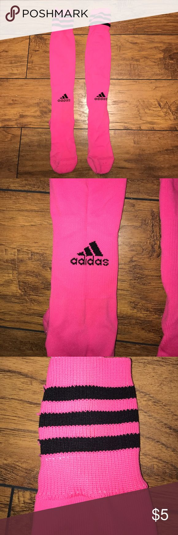 Pink Adidas Athletic Socks Worn once, comfy athletic material Adidas Accessories