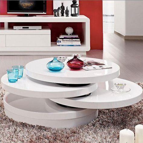 Mesa de centro redonda en tonos blancos