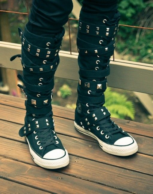 2013 New knee high converse sneaker boots, strappy converse high top sneakers, knee high sneaker boots