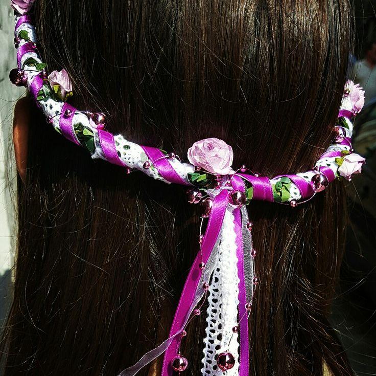Couronne de fleurs. Made in Brin d'ambiance Dinan  Headband. Hand made by Brin d'ambiance Dinan