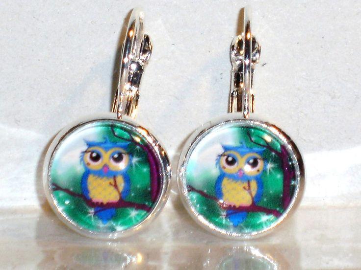 Ohrringe Eule Tiere Vogel Damen Hänger Leverback Glas Ohrschmuck Modeschmuck