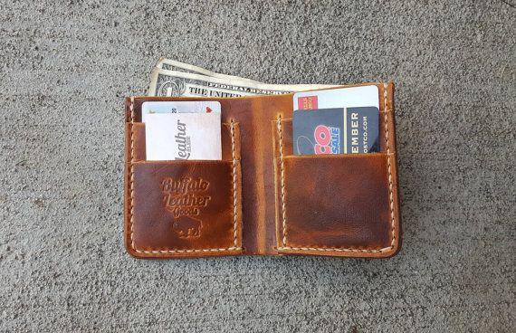Tan Leather Wallet  Men's Wallet  Horween by BuffaloLeatherGoods