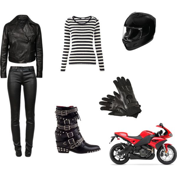 """""""motorcycle outfit"""" by isuka-bella on Polyvore  Dont know if ill look good on leather pants but i tots love the outfit!!"""