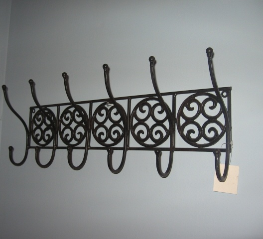 Wall Hanging Coat Rack Shelf Tuscan Wrought Iron Metal