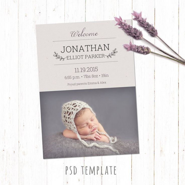 Birth announcement template card. Digital baby boy & baby girl birth card. Unisex card for instant download. Photoshop PSD file 5x7 inches. by PenguinGraphics on Etsy