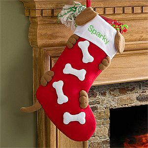 Personalized Christmas Stockings for Dogs - these are so cute and will look great on the mantle! PersonalizationMall even has a design for cats, too! #Dog #Christmas #Stocking