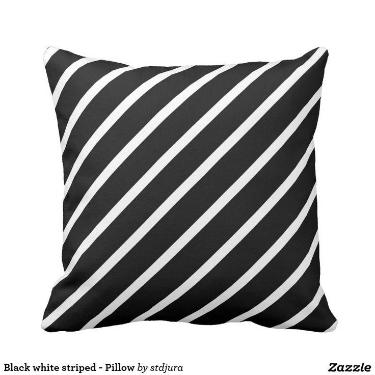 Black white striped - Pillow  #Blackandwhite #Pillow #Black #Striped #zazzle #BedroomAccessories #Accessories #HomeAccessories #polyester #design