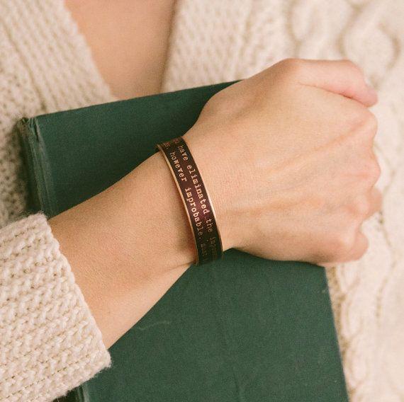 Sherlock Holmes Skinny Cuff Bracelet  Eliminated by JezebelCharms