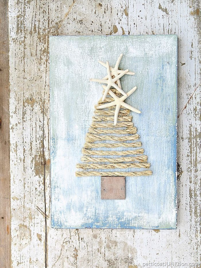 Sisal rope is one of my favorite diy products. The little tree is so sweet and easy to make. I added starfish as the tree topper.