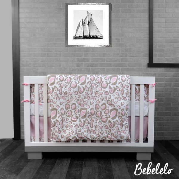 76 Chic baby Bedding Pink & White Wild and wonderful! This fabulous pastel pink and taupe leopard print is featured on our exclusive 100% cotton fabric. The soft fabric makes it perfect for all of your home décor projects.  #pink #girly #princess #babybedding #modern #unique
