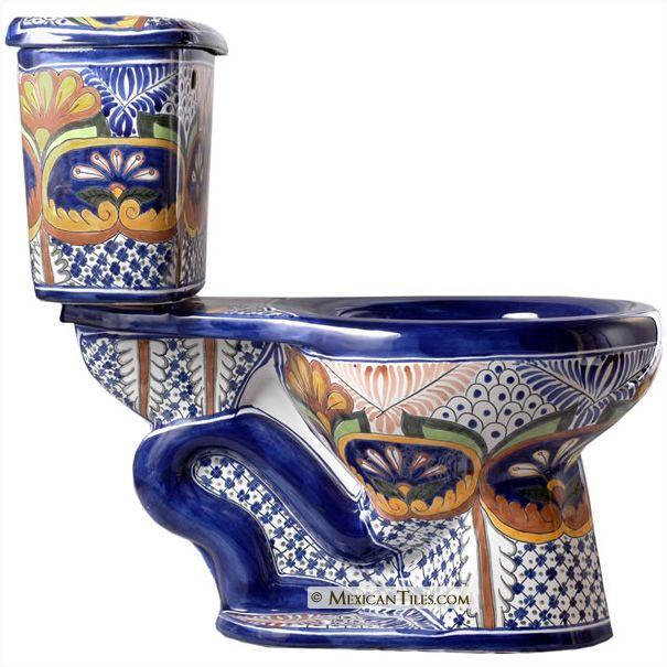 - ON SALE Puebla Mexican Talavera Porcelain Bathroom Toilet  Handpainted Porcelain Talavera Style Mexican Toilets $620. NO...