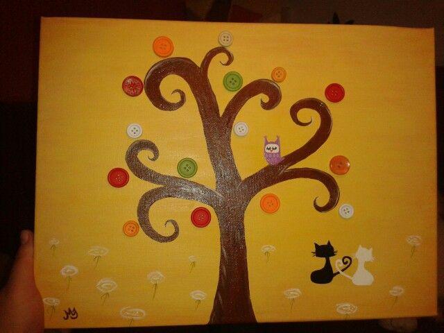 Gombos fa bagollyal és szerelmes cicákkal