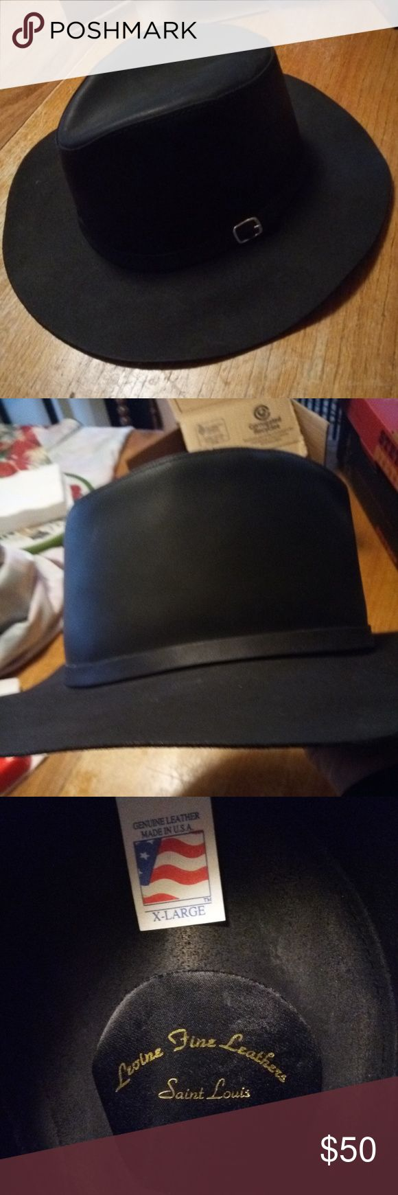 Mens Leather cowboy hat 100% leather cowboy hat, black, size XL... it has been worn but it is in perfect condition. Came from a local hat store in St Louis, Missouri (Levine Hat Co). I know we paid over$100 originally. Levine Hat Co Accessories Hats