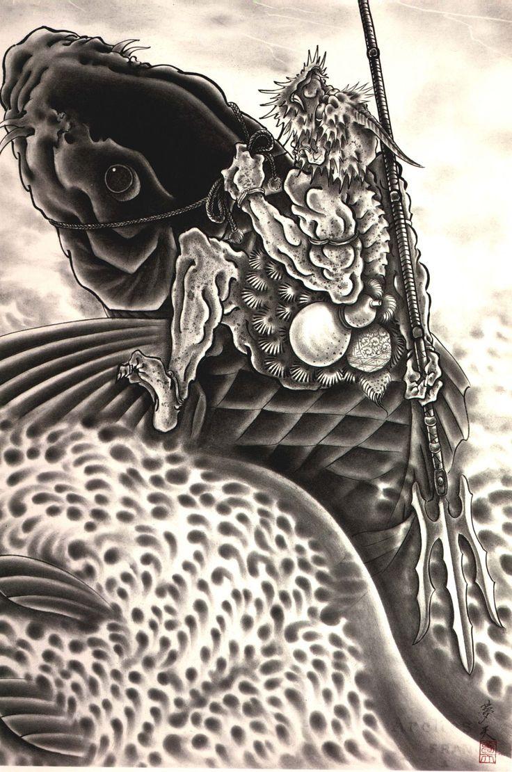 horiyoshi iii 13 riding carp japanese art pinterest