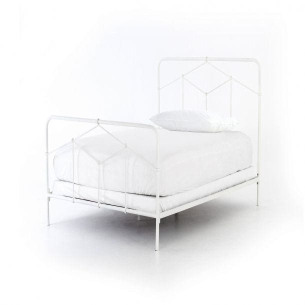 Casey Iron Twin Bed-White in 2018 | Modern Platform Bed Frames ...