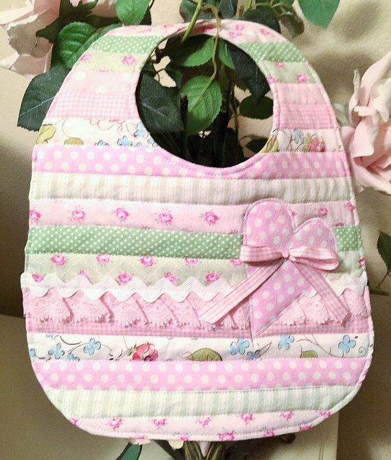 Baby Girl Bib Infant Shabby Chic baby girl by ChristineJDesigns