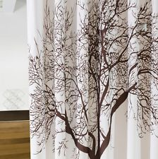 Bathroom Waterproof Shower Curtain with 12 Hooks New Coffee Big Tree Pattern