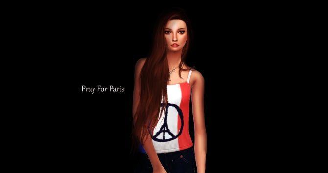 Pray For Paris Shirts at Dreacia via Sims 4 Updates