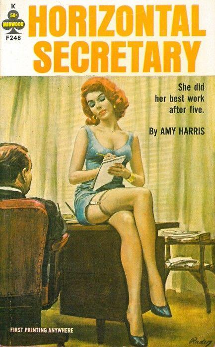"""Horizontal Secretary"" | Vintage Pulp Fiction Paperback Book Cover Art…"