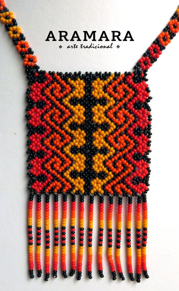Mexican Huichol Orange and Red Necklace COM-0011 by Aramara