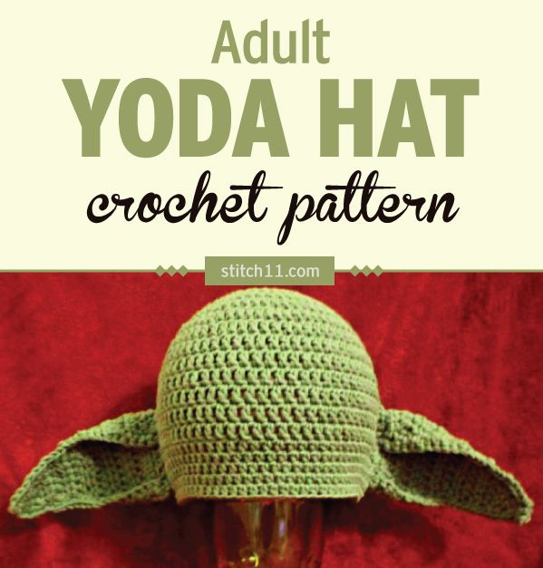 Do you have a Star Wars fan in your house? This Yoda hat crochet pattern is designed for an adult male with a 24-inch head circumference. When laying this beanie flat, it measures 11 inches across and is just over 8.5 inches tall. This pattern is a custom fit for a family member. #crochet #crochetlove #crochetlife #crochetaddict #crochetpattern #ilovecrochet #crochetgifts #crochet365 #addictedtocrochet #yarnaddict #yarnlove