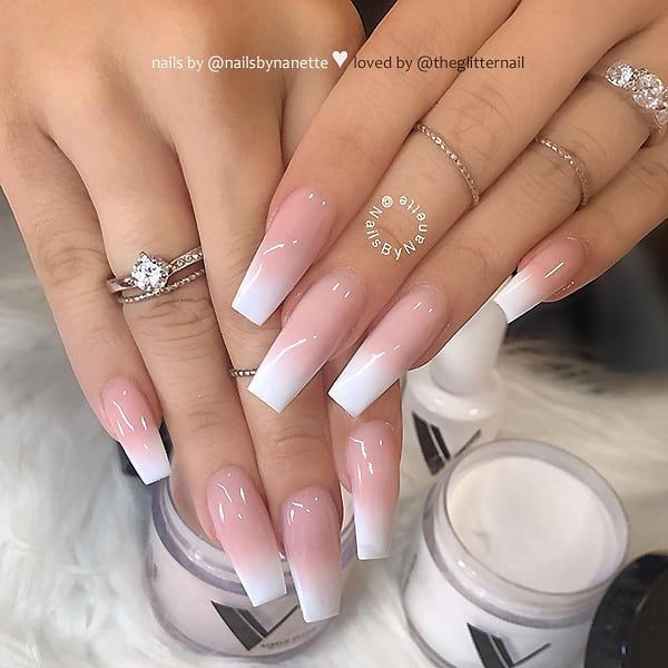 Theglitternail Get Inspired On Instagram French Fade On Long Coffin Nails Nail Artist Nailsb Faded Nails Short Acrylic Nails Coffin Nails Long