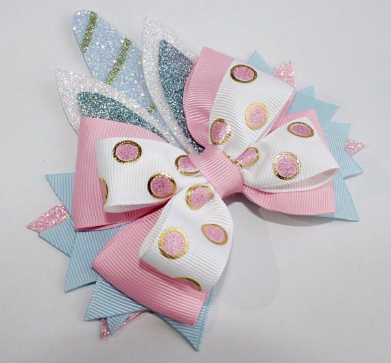 Unicorn Hair Bow - Glitter Hair Bow - Pink Glitter Bow - Glitter Bow - Unicorn Glitter Bow - Unicorn Glitter Hair bow - Unicorn bows Unicorn
