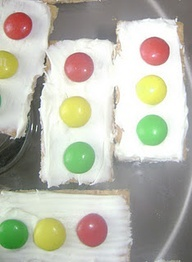 Traffic Lights - Arnotts Scotch Finger biscuits or any rectangle sweet biscuit add white icing and smarties for the lights. Thats a clever,quick and easy party food idea recipe for your cars birthday party at home @thebusysupermom....